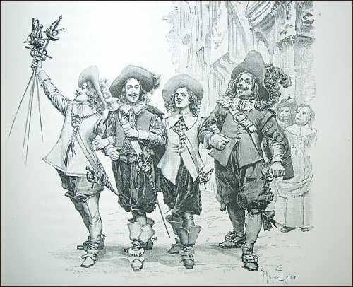 Los tres mosqueteros con D'Artagnan