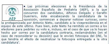 Nota de prensa de la AEP