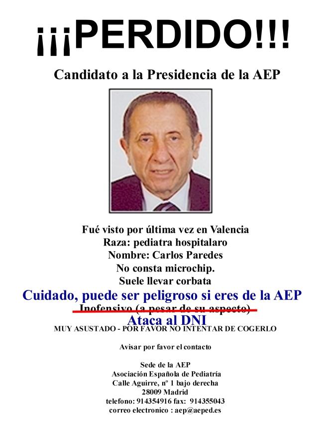 Carlos Paredes Candidato ausente a la Presidencia de la AEP