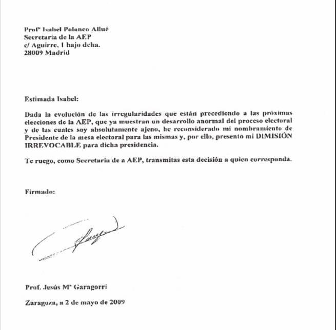 Carta dimision garagorri for Presidente mesa electoral